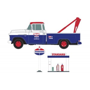 Classic Metal Works 1955 Chevy Tow Truck with Station Sign, Gas Pump Island