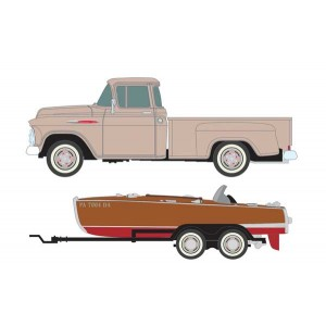 Classic Metal Works 1957 Chevy Step-Side Pickup Truck with Fishing Boat and Trailer